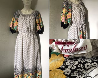 Vintage cotton dress Sundaze maxi dress floral and chevron stripes peasant top boho hippie festival wear