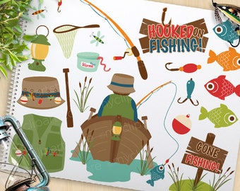 Fishing Clipart, Father's day, fishing tackle, camping, boat, fishing rod, fisherman, vector clip art graphics, commercial use, SVG Cut
