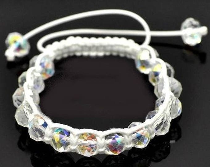 Shamballa bracelet adjustable white transparent glass beads