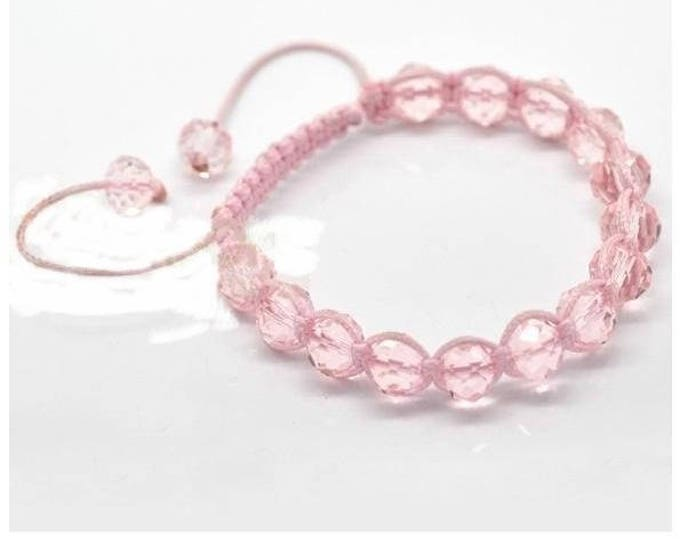 Adjustable Shamballa bracelet pale pink glass beads