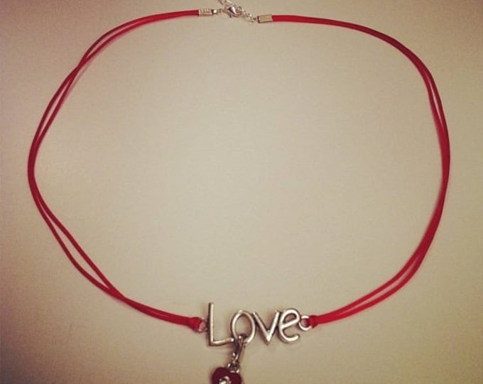 Red cord necklace with LOVE silver heart charm