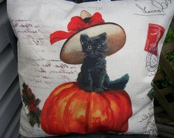 Black Cat with Hat and Orange Pumpkin Halloween Pillow Cover 18 x 18  Vintage Style Sofa Pillow Cover Fall Autumn Halloween Home Decor