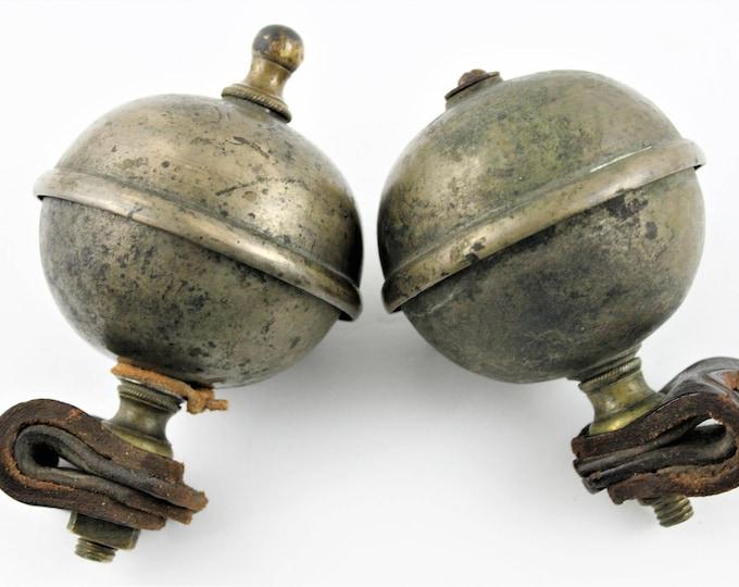 Antique 1800s Nickel Plated Brass Saddle Bells or Hame or Conestoga Bells