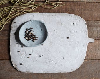 Large Cheese Platter with Bonus Spice Bowl - Serving Platter - Ceramic Cheese Platter - Pottery Platter - Platter
