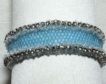 Blue Beaded Bracelet Cube Bead Bracelet Bead Woven Bracelet Beaded Bracelet Seed Bead Bracelet Sparkling Silver Cup Chain Bracelet