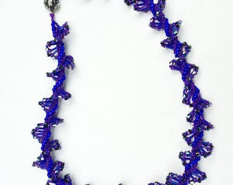 Purple Bead Necklace Spiral Rope Necklace Twist Necklace Purple Sparkle Rope Beadwoven Necklace Statement Necklace Bead Twist Necklace