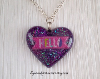 Hello Purple Resin Charm Necklace