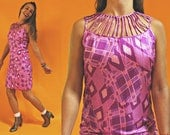 1960s Silk Lilly Pulitzer Cutout Collar Dress with Violet Purple Abstract Print