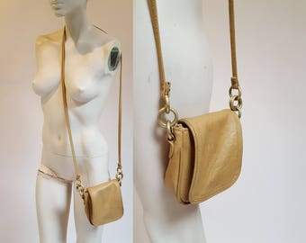 vintage Sand Brown Small Square Leather Purse