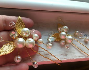 Gold pearl rhinestone brooch wire wrapped hair pin bridal wedding hair comb pin