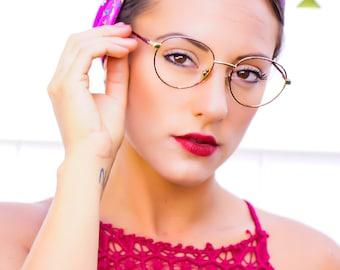 Vintage Round Eyeglasses 1990's Wire Rim Frames Tortoiseshell Enamel By Berdel Made In Italy Cheap