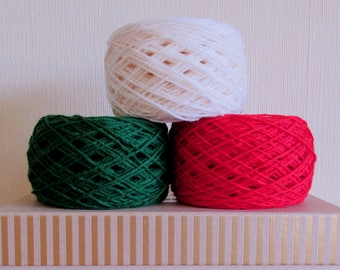 Set of 3 Wool yarn Christmas colors Forest Green White Red For knitting 300 g N 8/3