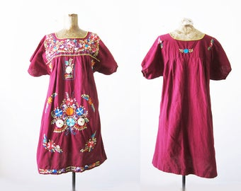 Mexican Embroidered Dress - Mexican Peasant Dress - Frida Kahlo Dress - Dia De Los Muertos - Burgundy Red Mexican Sundress - Boho Dress S