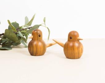 Vintage Teak Bird Figurines, Mid Century Decor, Set of 2