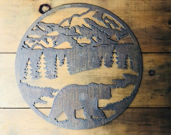 """Round Bear Mountain - 18"""" Round Rusty Metal - For Art, Sign, Decor - Make your own DIY Gift!"""