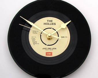"THE HOLLIES Vinyl Record Clock, ""Just One Look"", made from a vinyl 7"" record, Retro anniversary gift for husband wife, black and cream"