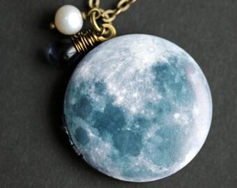 Moon Locket Necklace. Blue Moon Necklace with Blue Teardrop and Fresh Water Pearl. Lunar Necklace. Lunar Locket. Bronze Locket.