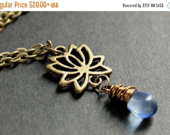 BACK to SCHOOL SALE Lotus Flower Necklace. Bronze Lotus Necklace. Lotus Flower Charm Necklace. Lotus Charm Necklace. Bronze Necklace. Handma