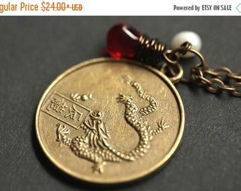 BACK to SCHOOL SALE Dragon Chinese Zodiac Necklace. Chinese Astrology Necklace. Asian Horoscope Necklace. Dragon Necklace. Chinese Necklace.