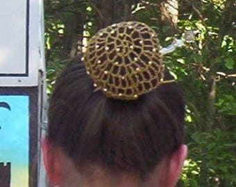 Beaded Bun Cover with Beads on Every Other row-Cotton/Metallic or Pearl Combination Snood