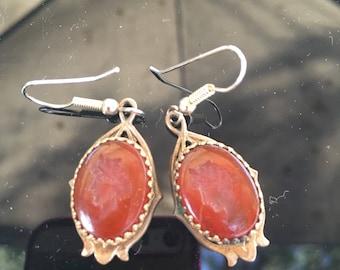 Vintage cameo earrings Carnelian