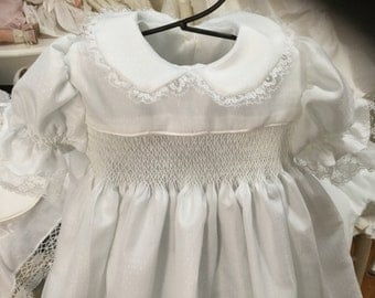 Smocked baby day gown/Baptismal/Christening dress 000