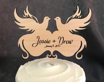 Love Doves Wood Wedding Cake Topper- Personalize it