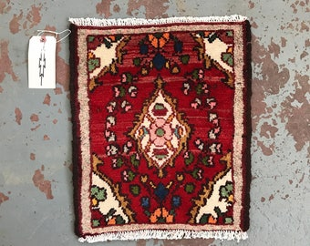 "SHIPS FREE! Small Vintage Persian Area Rug - 19.5"" x 16"""