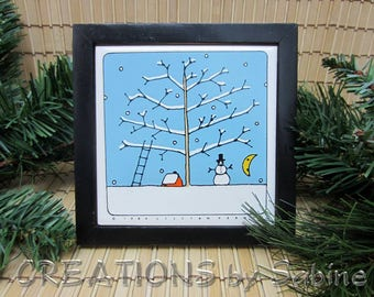 Lilian Vernon Tile Trivet 1984 Winter Season Black Frame Coaster Snowman Moon Tree Ladder Snowflakes Red Barn Square FREE SHIPPING (687)