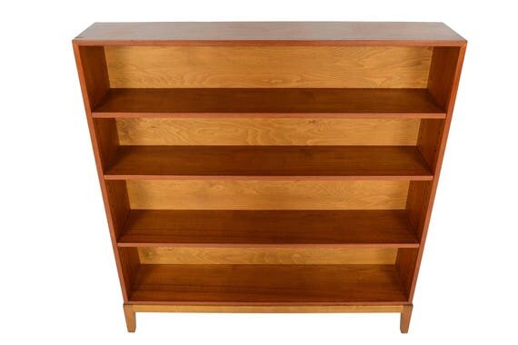 narrow danish modern mid century bookcase in teak 2