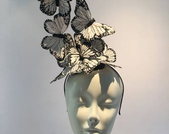 Black and White Fascinator -Butterfly fascinator- White Fascinator- High Tea- Butterfly Headdress- Butterfly hat- Derby- Kentucky Derby Hat