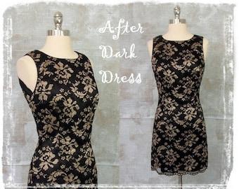Vintage Black Lace Dress, 1980s Dress, Evening Dress, Cocktail Dress, Sheath Dress, Mini Dress, Black and Gold Dress