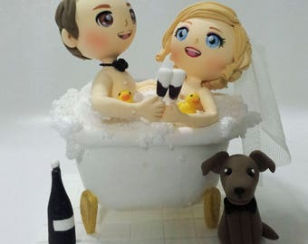 Bath together wedding Cake topper clay doll,Bride and groom toasting champagne flutes clay miniature, cute puppy and rubber duck clay figure