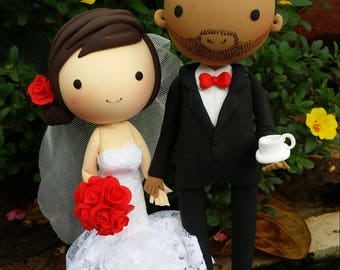 Wedding Cake topper Makeup artist bride and coffee groom clay doll,custom lace strapless mermaid dress clay miniature,engagement clay figure
