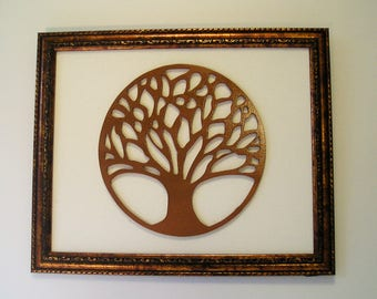 Enclosed Tree of Life, Tree silhouette, Wall decor, framed art, wall hanging