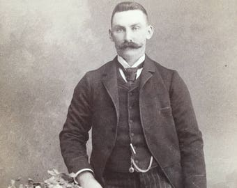 Mustache Handsome Victorian Hottie Vintage Photo Cabinet Card