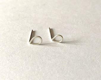 NEW Tiny Silver Raindrop earrings - sterling silver studs, teardrop earrings, minimal jewelry