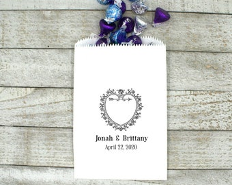 Personalized wedding favor bags, wedding cake bags, candy bags, 50, vintage heart with custom names and date, bridal shower, party favor