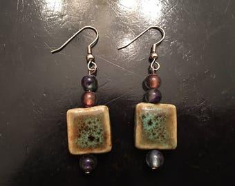 Handmade Ceramic Bead Earrings