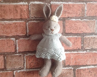 Knitted toy, hand knitted toy, handmade softie, soft toy, baby gift, kids toy, rabbit toy, dressed bunny, present for kids, dressed bunny,