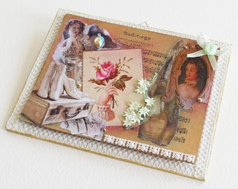 Tableau fleur etsy for Tableau style shabby chic