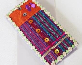 Belle Carte Voeux, Anniversaire, Félicitations - Tendance Moderne - Tissu, sequins, cabochon, noeud satin - Création d'artiste, pièce unique