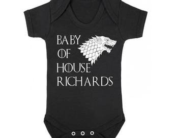 Game of Thrones Baby Onesie / Personalized Game Of Thrones Onesie /  House Name Personalized Game of Thrones Baby Clothes / Baby Shower Gift