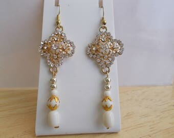 Gold Tone and Clear Rhinestone Dangle Earrings with Silver and White Dangles