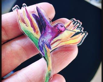 Illustrated Hummingbird Brooch