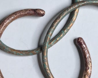 Simple hammered copper patina cuffs three