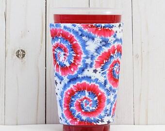 Coffee Cozy, Iced Coffee Cozy, Cup Sleeve, Eco Friendly, Insulated Cup Sleeve, Patriotic Cup Sleeve, Tie Dye Insulated Cup Sleeve