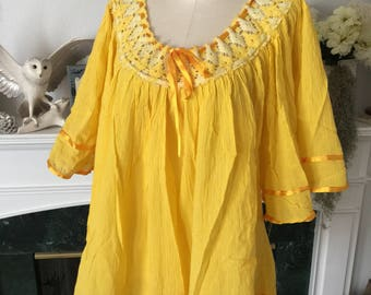 80s Mexican Crinkle Gauze Yellow Summer Top
