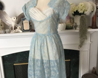 50s Flocked Cinderella Print Party Dress