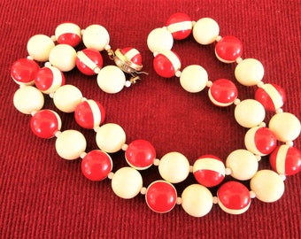 Vintage Lucite Red White Necklace Enamel Stripe Plastic Bead Necklace Jewelry Gift Mid Century